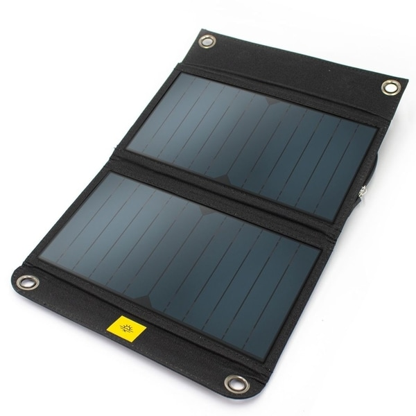 An open black solar panel with a white background
